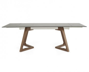 Seville Smoked Glass and Walnut Extending Dining Table