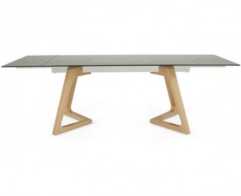 Seville Smoked Glass and Oak Extending Dining Table