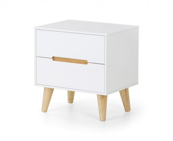 Alicia White and Oak 2 Drawer Bedside Chest