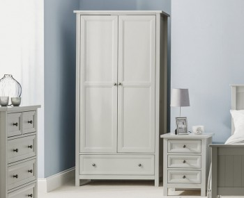 Foxcroft Dove Grey 2 Door Combi Wardrobe
