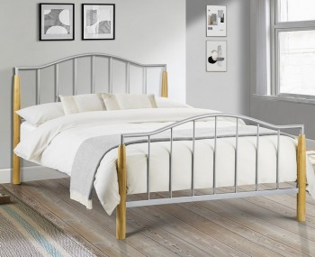 Carmel Metal and Oak Bed Frame