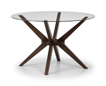 Chelsea Round Glass and Walnut Dining Table