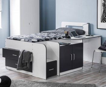 Cookie White and Charcoal Cabin Bed