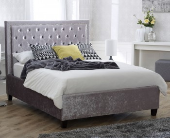 Rowanne Ice Velvet Upholstered Bed
