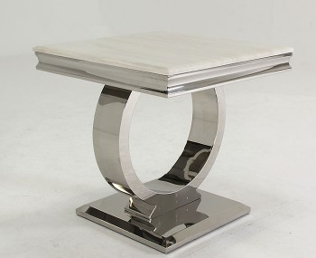 Georgina Marble and Steel Lamp Table