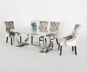 Georgina Marble and Steel Dining Table and Chairs
