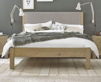 Renzo 5ft Aged Oak Upholstered Low Footend Bed Frame *Special Offer*