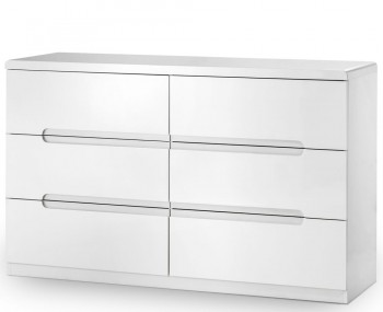 Manhattan White High Gloss 6 Drawer Chest