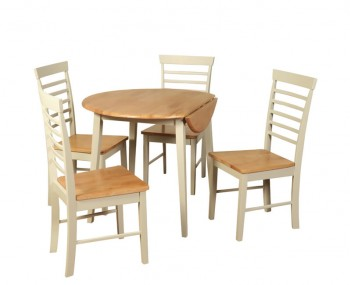 Berlin Two-Tone Round Drop Leaf Table and Chairs