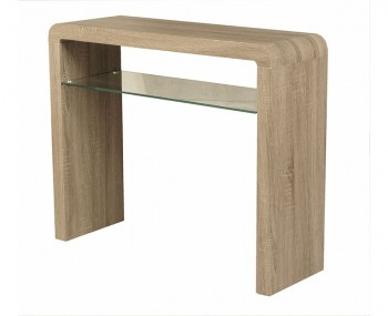 Deloro Dark Oak and Glass Medium Console Table