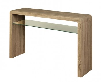 Deloro Dark Oak and Glass Large Console Table