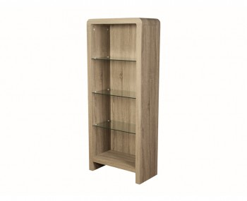 Deloro Dark Oak and Glass Bookcase
