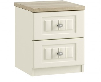 Piccolo Ivory and Oak 2 Drawer Bedside Chest