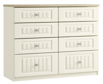Piccolo Ivory and Oak 8 Drawer Wide Chest