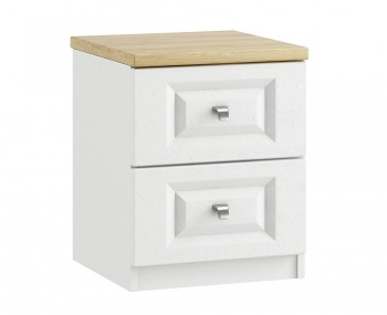 Pantano White and Oak 2 Drawer Bedside Chest