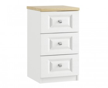 Pantano White and Oak 3 Drawer Bedside Chest