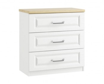 Pantano White and Oak 3 Drawer Midi Chest