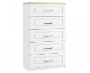 Pantano White and Oak 5 Drawer Chest