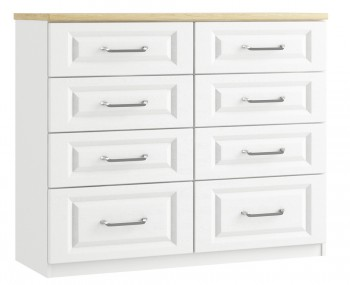 Pantano White and Oak 8 Drawer Wide Chest