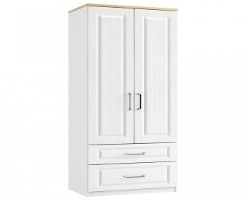 Pantano White and Oak 2 Door 2 Drawer Tall Wardrobe