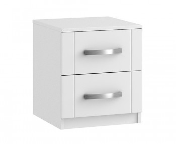 Aretina White 2 Drawer Bedside Chest