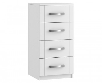 Aretina White 4 Drawer Narrow Chest