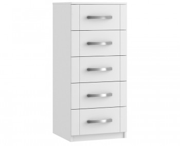 Aretina White 5 Drawer Narrow Chest