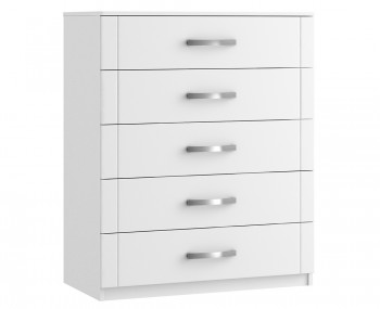 Aretina White 5 Drawer Chest
