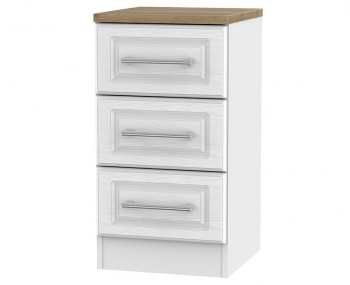 Winchester White Ash and Oak 3 Drawer Bedside Chest