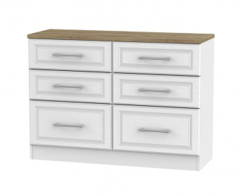 Winchester White Ash and Oak 6 Drawer Midi Chest