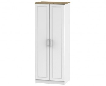 Winchester White Ash and Oak 2 Door Tall Wardrobe