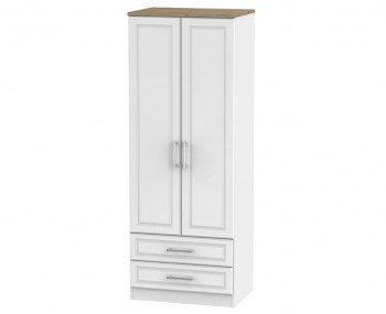 Winchester White Ash and Oak 2 Door 2 Drawer Tall Wardrobe
