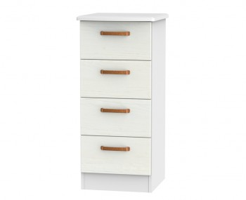 Castle White and Copper 4 Drawer Tallboy Chest