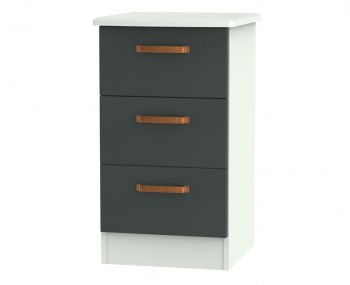 Castle Graphite and Copper 3 Drawer Bedside Chest