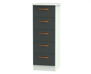 Castle Graphite and Copper 5 Drawer Tallboy Chest