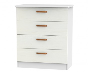 Castle White and Copper 4 Drawer Chest