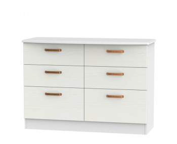 Castle White and Copper 6 Drawer Midi Chest