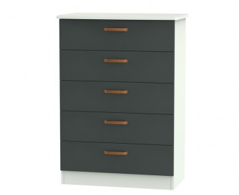 Castle Graphite and Copper 5 Drawer Chest