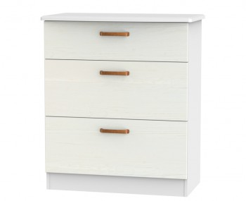 Castle White and Copper 3 Drawer Deep Chest