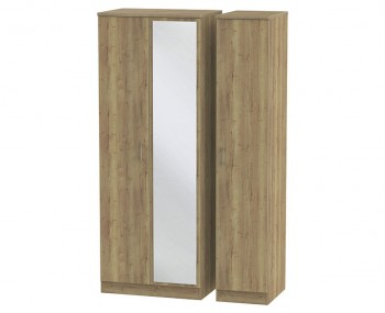 Devon Sterling Oak 3 Door Tall Mirror Wardrobe