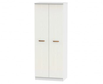 Castle White and Copper 2 Door Tall Wardrobes