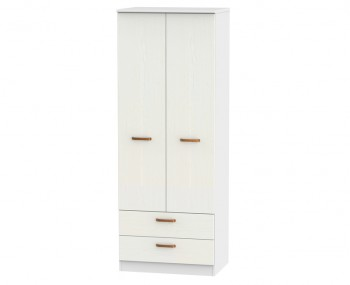 Castle White and Copper 2 Door Tall Combi Wardrobes