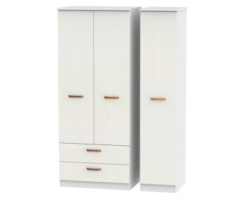 Castle White and Copper Triple Combi Wardrobes
