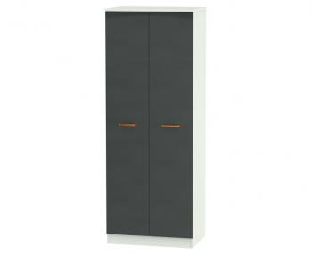 Castle Graphite and Copper Tall 2 Door Wardrobes