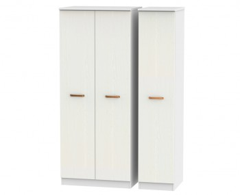 Castle White and Copper Triple Wardrobes