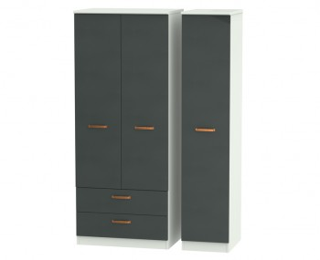 Castle Graphite and Copper Triple Combi Wardrobes