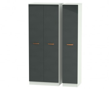 Castle Graphite and Copper Tall Triple Wardrobes