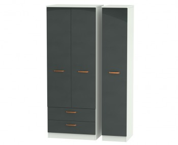 Castle Graphite and Copper Tall Triple Combi Wardrobes