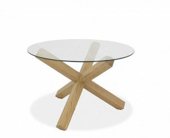 Ventura Light Oak and Glass Round Dining Table