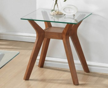 Newport Walnut and Glass Lamp Table *Special Offer*